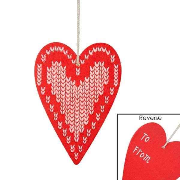 Gisela Graham Wooden Heart Gift Tag - Red with White Heart