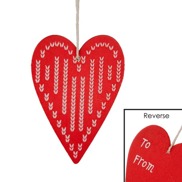 Gisela Graham Wooden Heart Gift Tag - Red with White Stripes
