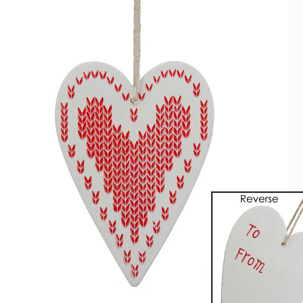Gisela Graham Wooden Heart Gift Tag - White with Red Heart