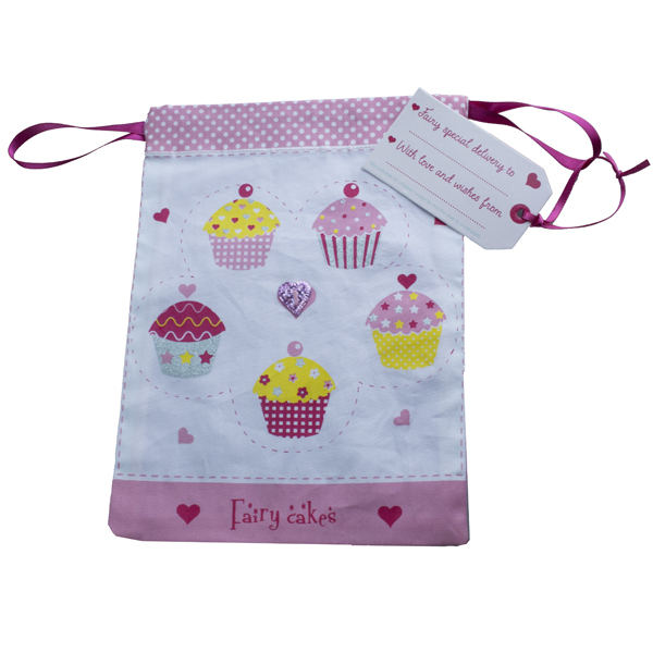 Believe You Can Fabric Fairy Cakes Gift Bag - 19.5cm x 14.5cm