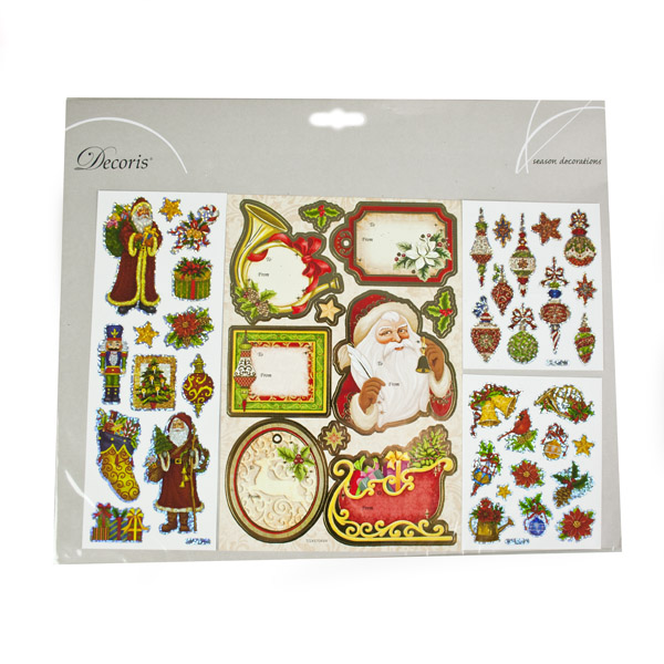 Assorted Sticker Gift Tags - Santa