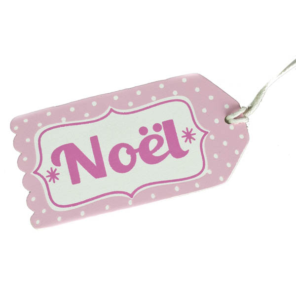 Gisela Graham Pastel Wooden ''Noel'' Gift Tag - 10cm