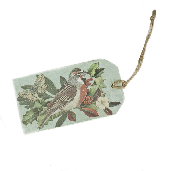 Gisela Graham Forest Whispers Blue Wooden Gift Tag
