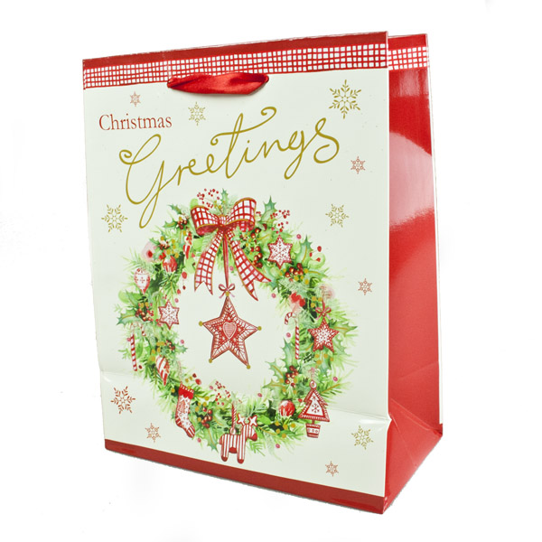 Traditional Festive Wreath Design Gift Bag - 22.5cm x 17.5cm