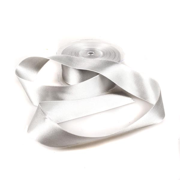 Silver Double Face Satin Ribbon - 25m x 38mm