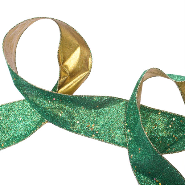 Gisela Graham Green Sparkle Ribbon - 63mm x 3m