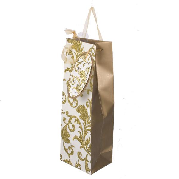 Gold & Cream Glitter & Gem Bottle Bag