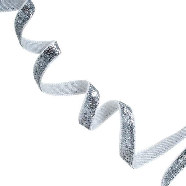 Gisela Graham Silver Sparkle Ribbon - 3m