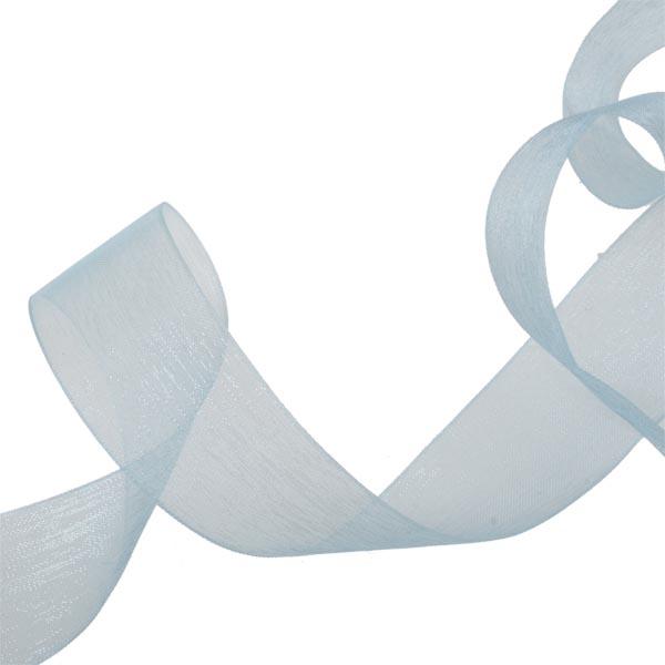 Light Blue Organza Woven Edge Ribbon - 25m x 25mm