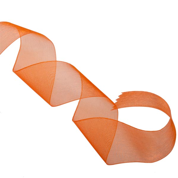 Orange Organza Woven Edge Ribbon - 25m x 25mm