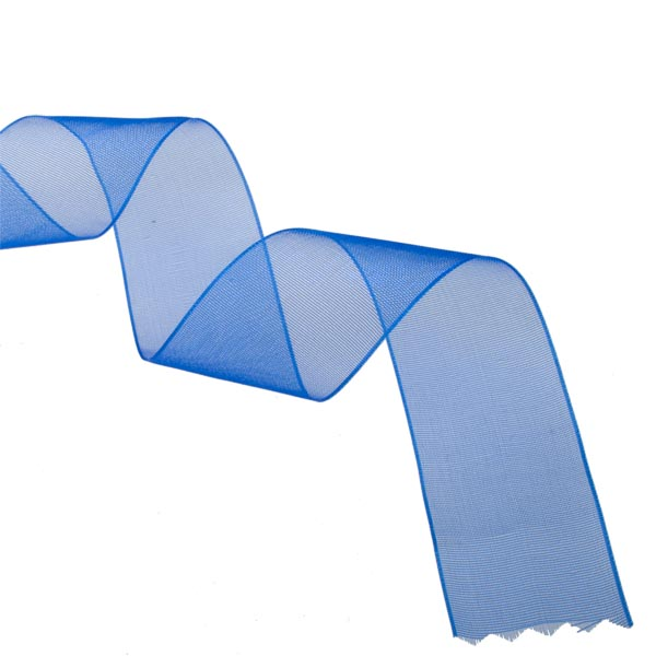 Royal Blue Organza Woven Edge Ribbon - 25m x 25mm