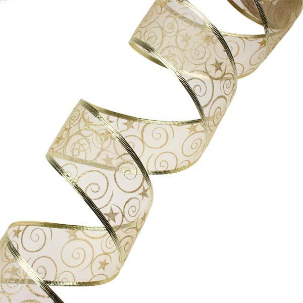 Gold With Gold Glitter Swirls Design Wire Edged Sheer Ribbon - 6cm X 2.7m