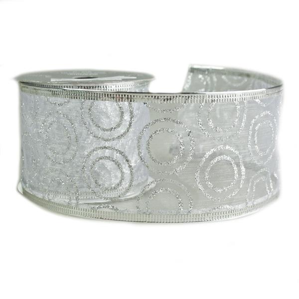 White With Silver Glitter Swirls Design Wire Edged Sheer Ribbon - 6cm X 2.7m