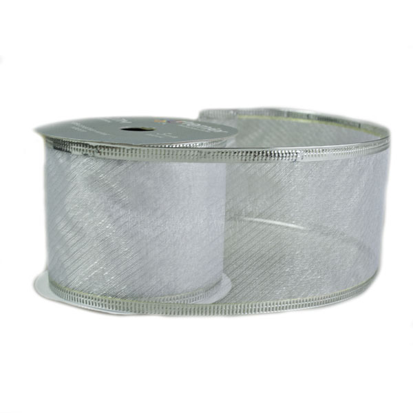 White With Silver Trim Design Wire Edged Sheer Ribbon - 6cm X 2.7m