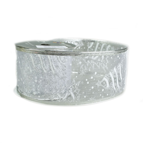 White With Silver Glitter Tree Design Wire Edged Sheer Ribbon - 6cm X 2.7m