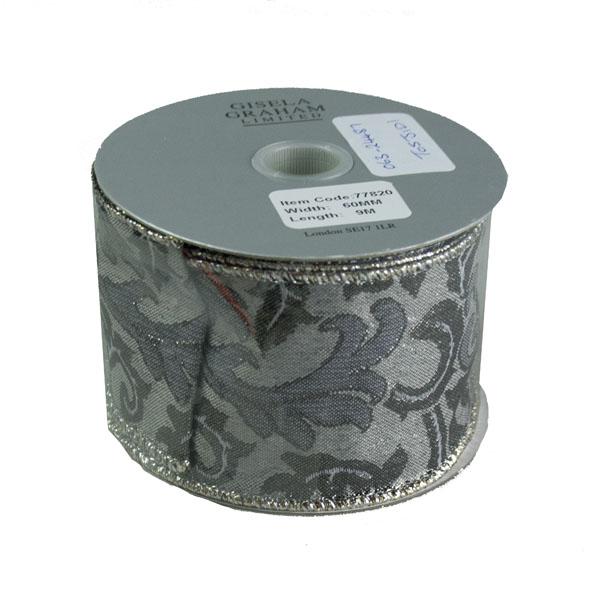 Gisela Graham Black & Silver Paisley Ribbon - 9m X 60mm