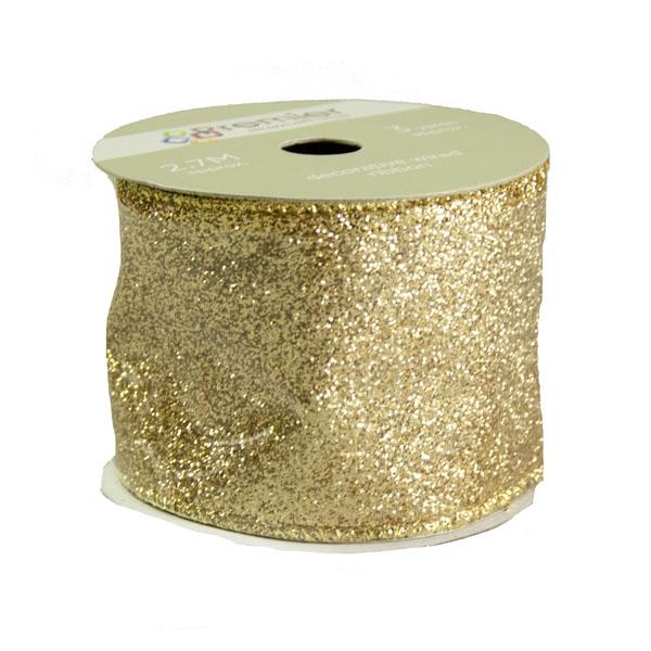 Gold Glitter Ribbon - 6cm x 2.7m