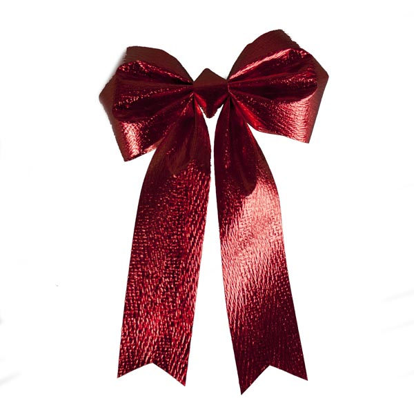 Antique Red Metallic Bow Decoration - 12.5cm