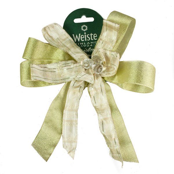 Decorative Gold Ribbon Bow With Crystal Centre