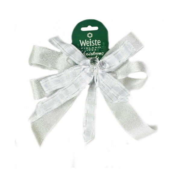 Decorative Silver Ribbon Bow With Crystal Centre