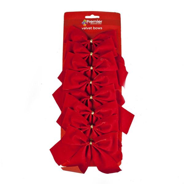 Pack Of 8 x 15cm Red Velvet Bows