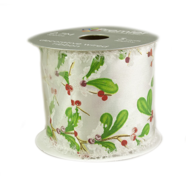 Holly Berry Design Patterned Ribbon - 6cm X 2.7m