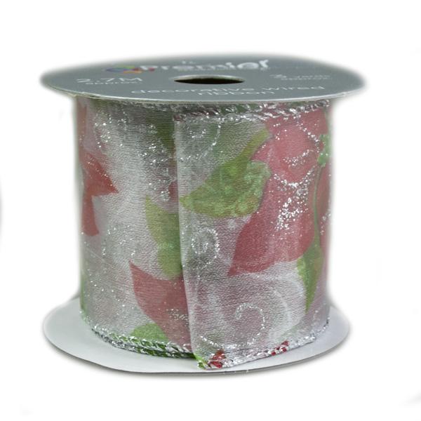 Sheer Poinsettia Design Patterned Ribbon - 6cm X 2.7m