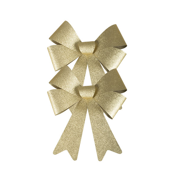 Gold Glitter Bow Decoration - 20cm x 15cm