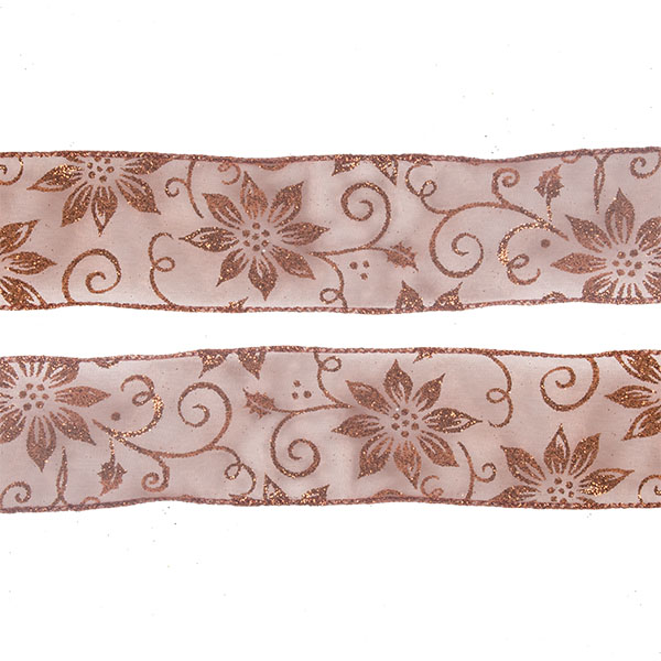 Roll Of Copper Poinsettia Christmas Ribbon - 6cm X 2.7m