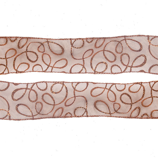 Roll Of Copper Swirl Christmas Ribbon - 6cm X 2.7m