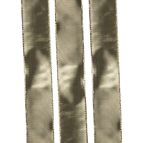 Gold Mirrored Finish Wire Edged Ribbon - 20m x 25mm