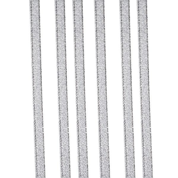 Silver Glitter Organza Ribbon - 25m x 6mm