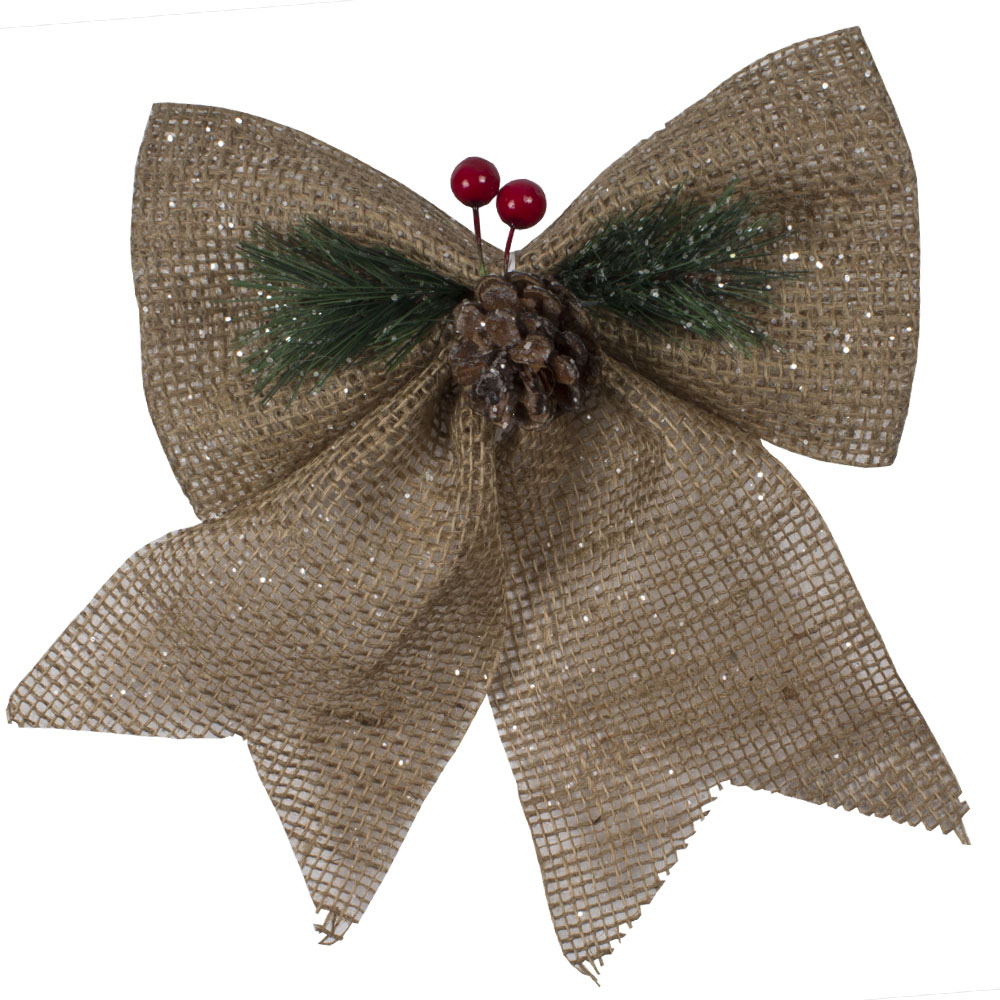 Gold Bow With Pinecone & Berry Detail - 2 x 14cm