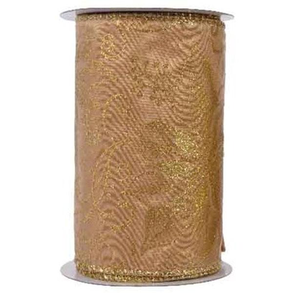 Gold Glitter Poinsettia Design Wire Edged Ribbon - 12cm X 2.7m
