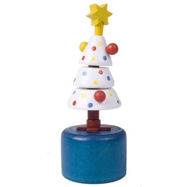 Gisela Graham Novelty Push Up White Dotty Tree Toy - 12cm