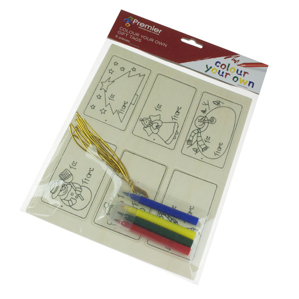 Colour Your Own Gift Wooden Tag Set - 6 Pieces