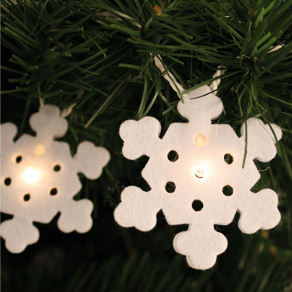 Noma 2.85m Length Of 20 Clear Indoor Static Micro Bulb Snowflake Fairy Lights Clear Cable