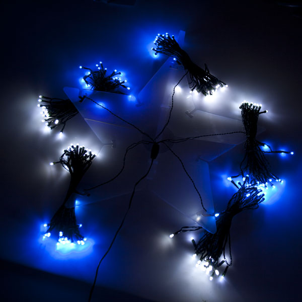 200 Outdoor Blue & White LED Star Decoration Lights - 5 x 6m Lengths Green Cable