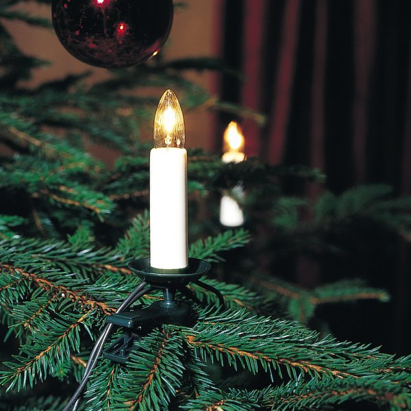 Konstsmide 12m Length Of 16 Indoor Traditional Candle Fairy Lights Green Cable