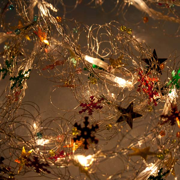 Konstsmide 6.8m Length Of 20 Indoor Clear Bulb Silver And Red Decorative Garland Fairy Lights Transparent Cable