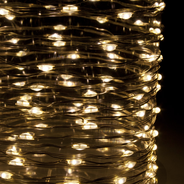 5.95m Length Of 120 Warm White Indoor & Outdoor Micro LED Fairy Lights Silver Metallic Cable