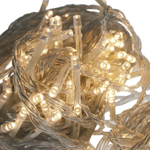 16m Length Of 200 Warm White Multi Action Outdoor Premier Supabrights LED Fairy Lights Clear Cable