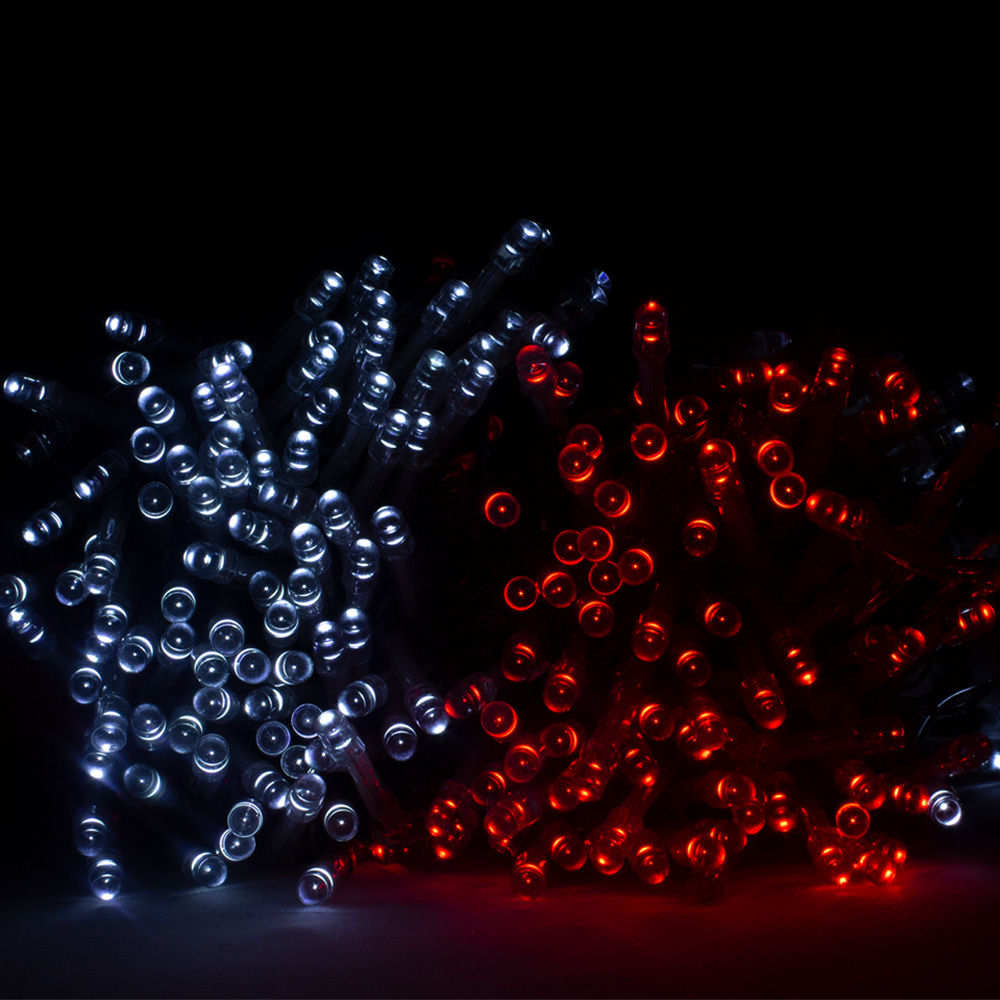 28.7m Length Of 360 Red & White Multi Action Outdoor Premier Supabrights LED Fairy Lights Clear Cable