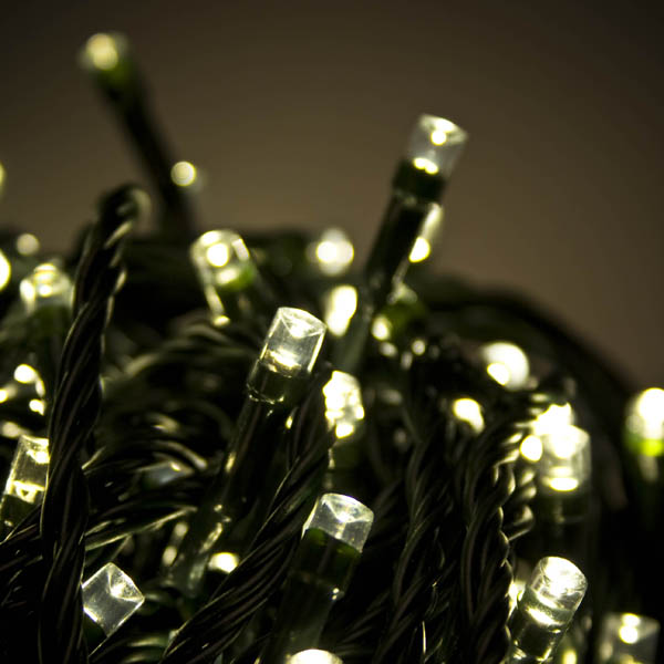 28.7m Length Of 360 Warm White Multi Action Outdoor Premier Supabrights LED Fairy Lights Green Cable