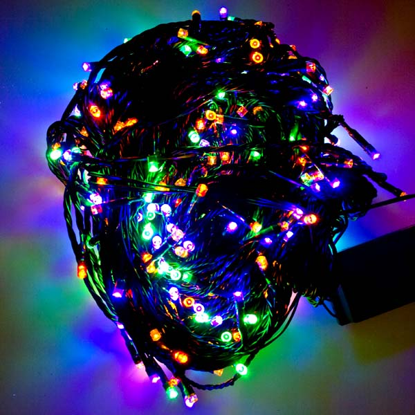 57.5m Length Of 720 Multi Coloured Multi Action Outdoor Premier Supabrights LED Fairy Lights Green Cable