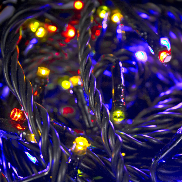 Konstsmide 17m Length Of 240 Multi Coloured Multi Function Outdoor Micro LED Fairy Lights. Black Cable.