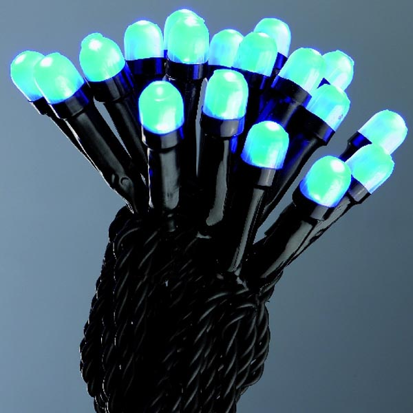 14.3m Length Of 144 Blue Multi-Action LED Indoor & Outdoor Fairy Lights - Black Cable