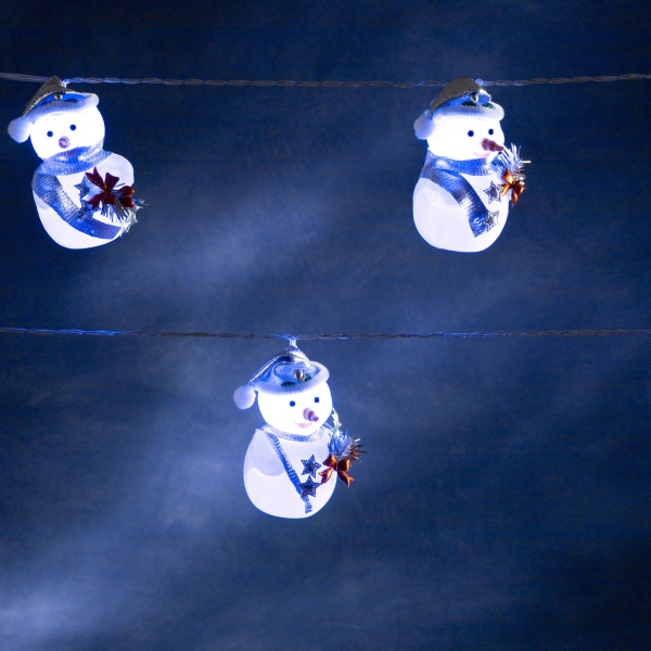 Konstsmide 1.75m Length Of 8 White Blue Scarf Snowman Indoor Static LED Character Fairy Lights Transparent Cable