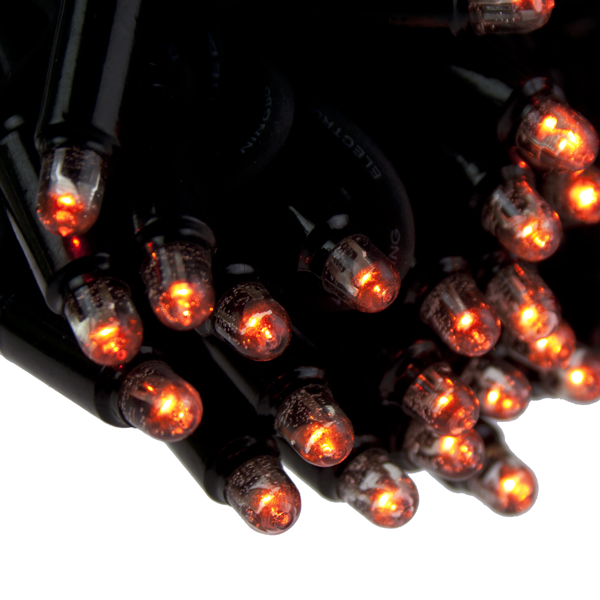 10m Length Of 100 Orange Outdoor Static Connectable Light Creations LED String Fairy Lights.Black Cable