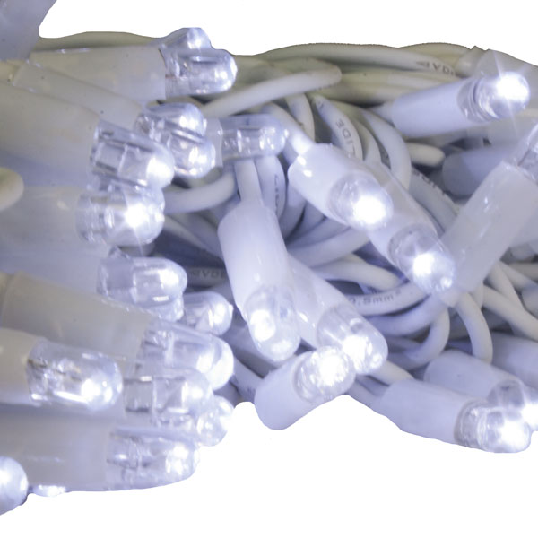 10m Length Of 100 Ice White Outdoor Static Connectable Light Creations LED String Fairy Lights.White Cable